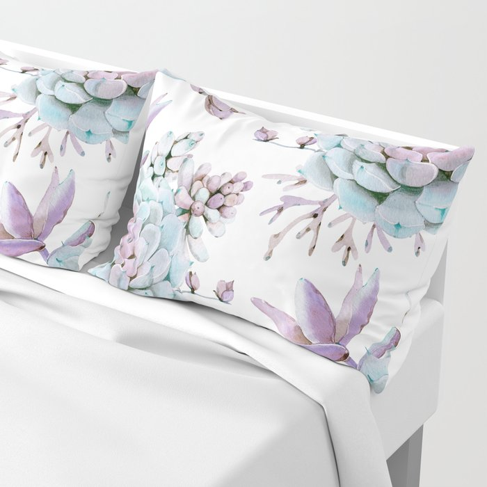 Turquoise and Violet Succulents Pillow Sham