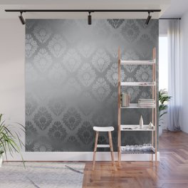 """Neutral gray Damask Pattern"" Wall Mural"