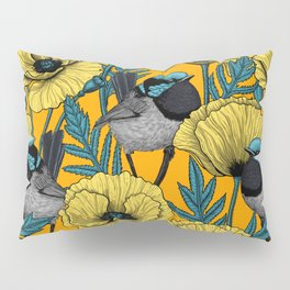 Fairy wren and poppies in yellow Pillow Sham