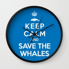 Keep Calm and Save the Whales Wall Clock