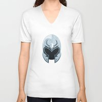 magneto V-neck T-shirts featuring Magneto helmet only by Tony Vazquez