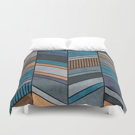 Colorful Concrete Chevron Pattern - Blue, Grey, Brown Duvet Cover