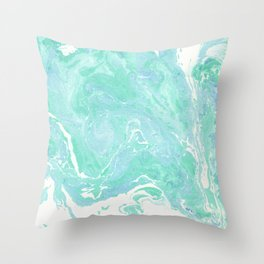 Marble texture background, white blue green marble pattern Throw Pillow