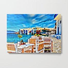 Cyclades Islands Digital Painting Metal Print
