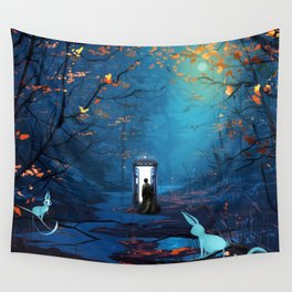 Tardis And The Doctor Lost In The Forest Wall Tapestry