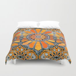 Celebrating the 70's - tangerine orange watercolor on grey Duvet Cover