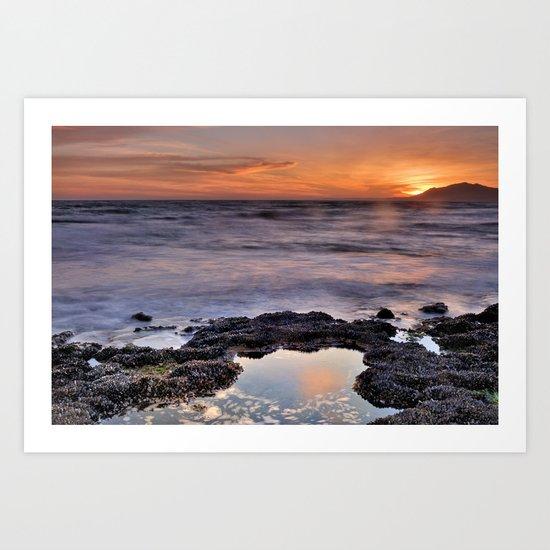 Red sunset. Mediteranean sea Art Print