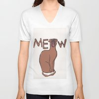 meow V-neck T-shirts featuring MEOW  by Cats. Comics. Curves.