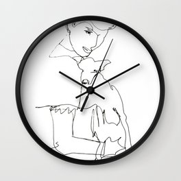 Woman with dog Wall Clock
