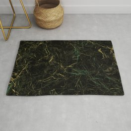 Dark Marble - Abstract, textured, black and gold marble Rug