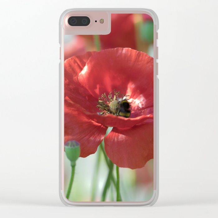 Red poppy Art Clear iPhone Case