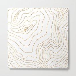 Modern Gold lines Minimalist Hand Drawn Design Metal Print
