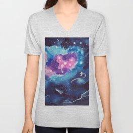 Tiny Astronaut and the Blue Nebula Unisex V-Neck
