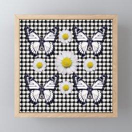 BLACK-WHITE DAISIES & MONARCH BUTTERFLIES ART Framed Mini Art Print
