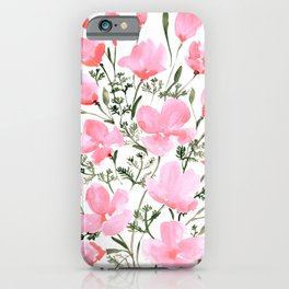 Pink watercolor California poppies iPhone Case