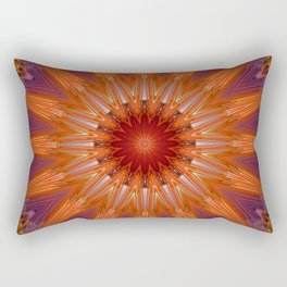 Vibrant Purple Orange Mandala Design Rectangular Pillow