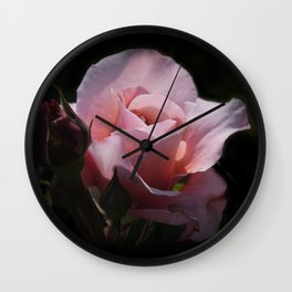 dreamy rosebuds on black Wall Clock