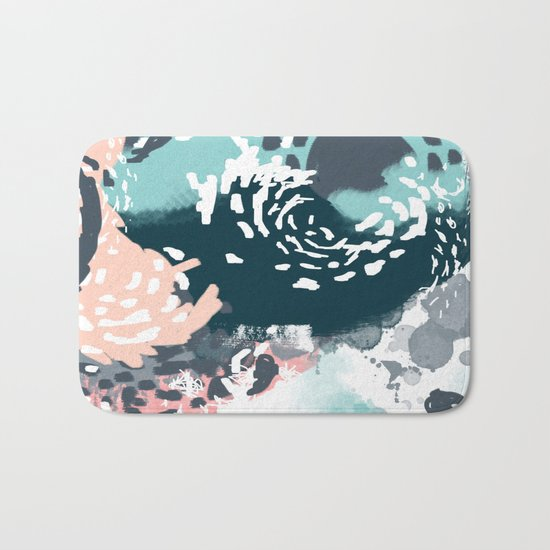 August - Abstract modern painting in bold colors for trendy feminine style Bath Mat