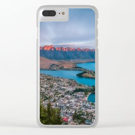 Red light on the Remarkables mountain in Queenstown at sunset Clear iPhone Case