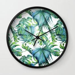 Blue Jungle Leaves, Monstera, Palm #society6 Wall Clock