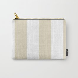 Wide Vertical Stripes - White and Pearl Brown Carry-All Pouch