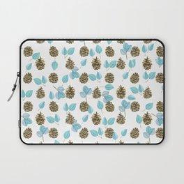 Modern teal brown botanical leaves pinecone pattern Laptop Sleeve