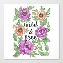 Wild & Free Watercolor Illustration Canvas Print