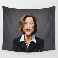 celebrity Wall Tapestries featuring Celebrity Sunday ~ Gillian Anderson by rob art | illustration