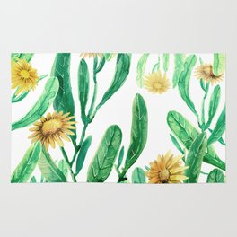 yellow flowers on sunny day Rug