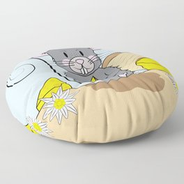 Cartoon Mouse with Cheese Floor Pillow