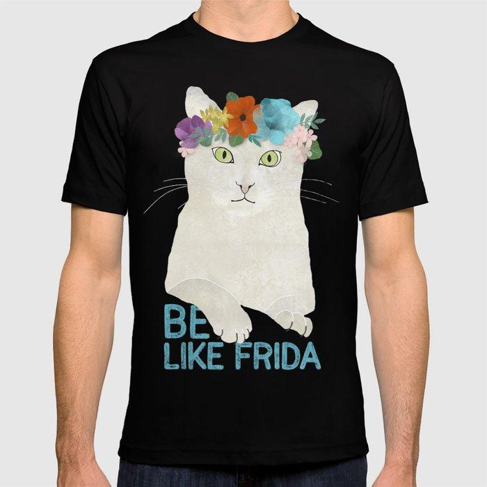 Be like Frida! White cat in flower crown T-shirt