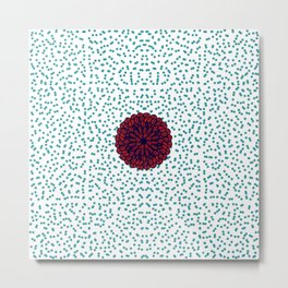 Sweet and Cute Red Flower on Imperfect Polka Dots Metal Print