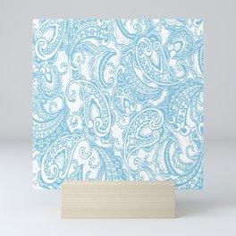 Paisley batik aqua Mini Art Print