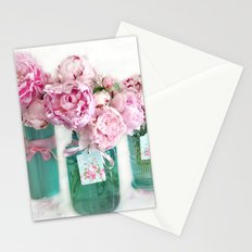 Romantic Shabby Chic Cottage Pink Aqua Watercolor Peonies Print Home Decor Stationery Cards