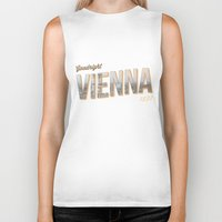 "vienna Biker Tanks featuring Vintage Print ""Goodnight Vienna."" by Lewys Williams"