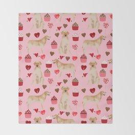 Yellow Lab valentines day hearts cupcakes cute labrador retriever Throw Blanket