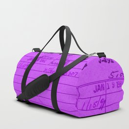 Library Card 797 Purple Duffle Bag