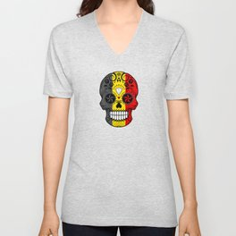 Sugar Skull with Roses and Flag of Belgium Unisex V-Neck