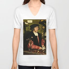 Hans Holbein  - Portrait of Georg Giese Unisex V-Neck