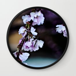 Cherry Blossom Flowers After Rain Wall Clock