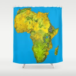 African Continent Topographical Relief Map Shower Curtain