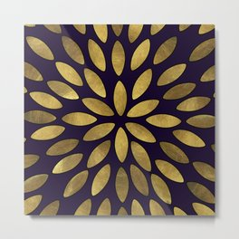 Classic Golden Flower Leaves Pattern Metal Print