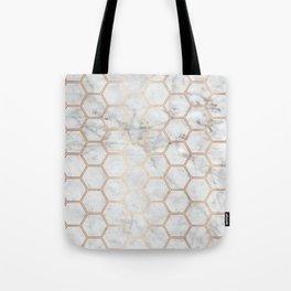 Honeycomb Marble Rose Gold #358 Tote Bag