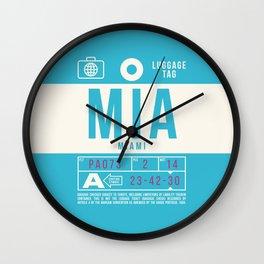 Baggage Tag B - MIA Miami USA Wall Clock