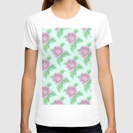 Cross Stitch Rose Pattern in blue T-shirt