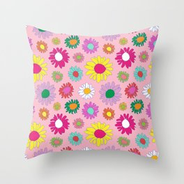 60's Daisy Crazy in Mod Pink Throw Pillow