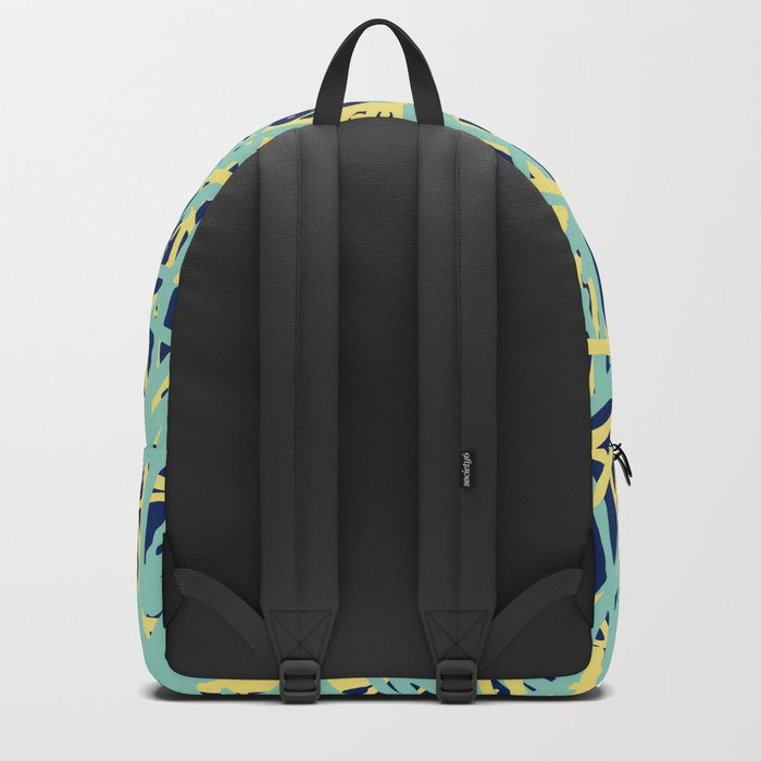 Daisy Scribble Navy, Mint and Lemon Backpack