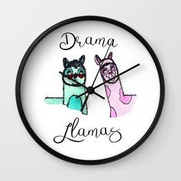 Illustration: Drama Llamas, drama, llama art Wall Clock