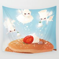breakfast Wall Tapestries featuring Breakfast by Joelle Murray
