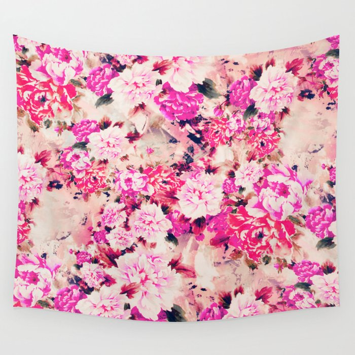 Pink Turquoise Girly Chic Floral Paisley Pattern Rug By: Elegant Pink Chic Floral Pattern Girly Peonies Wall